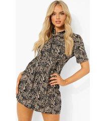 blouse jurk met zak detail en opdruk, black