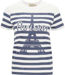 maison kitsuné parisien tower print striped t-shirt