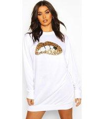 luipaardprint sweatshirt jurk met lippen en pailetten, wit