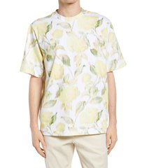 men's kenzo floral skate t-shirt, size small - yellow