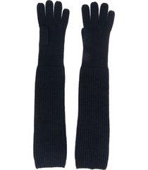 n.peal long ribbed gloves - blue