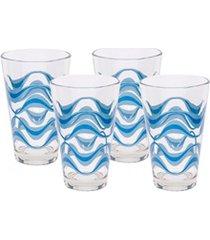 conjunto de copos decorados em vidro 310ml 4 peças