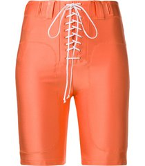 unravel project tie-front shorts - orange