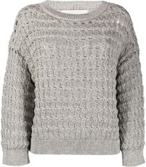 fabiana filippi braid-stitch cotton-blend jumper - grey