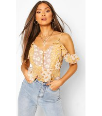 woven mixed floral print peplum top, yellow