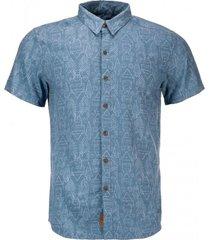 camisa one way short sleeve shirt azul piedra lippi