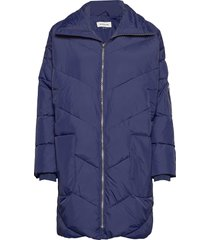 dhdiega long down jacket gevoerde lange jas blauw denim hunter