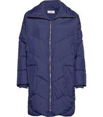 dhdiega long down jacket gevoerde lange jas blauw denim hunter