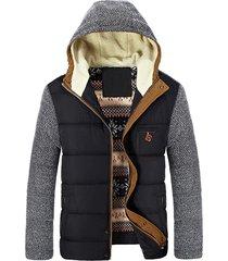 chaqueta abrigo invierno calida hombre gruesa algodon sa830 negro