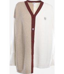 loewe asymmetrical anagram cardigan in wool