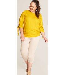 blusa unicolor anudados amarillo 14