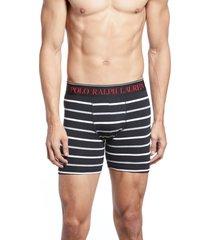 men's polo ralph lauren stripe boxer briefs, size small - black