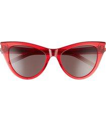 saint laurent 54mm cat eye sunglasses in red/black at nordstrom