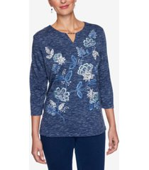 alfred dunner petite embroidered embellished top