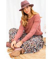 gebreide kanten trui oud roze