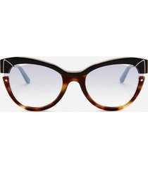 karl lagerfeld women's cat eye frame sunglasses - black/havana