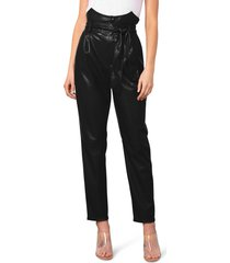 women's bb dakota faux my darling belted faux leather pants, size 0 - black