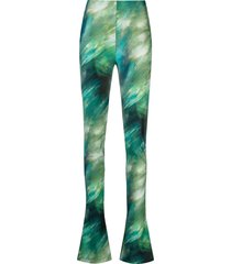 the attico tie-dye print flared trousers - green