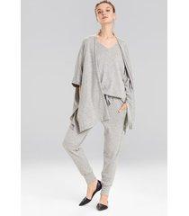 retreat jersey sweater knit topper jacket, women's, grey, size l, n natori