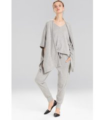 retreat jersey sweater knit topper, women's, grey, size l, n natori