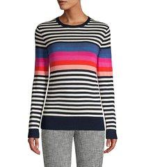 trina turk women's jet set jungle colette stripe wool sweater - white multicolor - size s