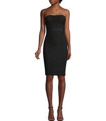 shirred strapless cocktail dress