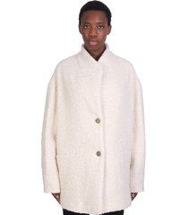 iro oken coat in white acrylic