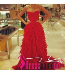 ball gown sweetheart sweep train tulle red evening dress long prom party gowns