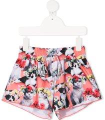 molo flower power cat-print swim shorts - pink