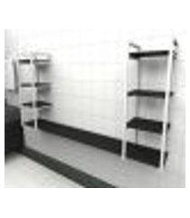 prateleira industrial banheiro aço cor branco 180x30x98cm (c)x(l)x(a) cor mdf preto modelo ind53pb