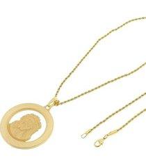 kit medalha face de cristo tudo joias com corrente elo baiano 2mm e 60cm folheado a ouro 18k