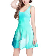 blue abstract watercolor sleeveless dress