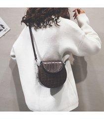 women plain alligator modello round shoulder borsa telefono borsa