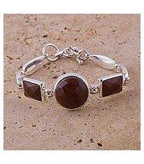 mahogany obsidian pendant bracelet, 'magnificent' (peru)