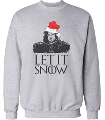 let it snow jon snow game of thrones sweatshirt sweater jumper light steel