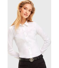blusa  tommy hilfiger ml blanco - calce ajustado