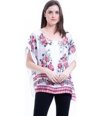 blusa 101 resort wear poncho cetim estampado floral branco e vermelho