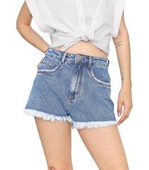 short jeans my favorite thing(s) barra desfiada azul