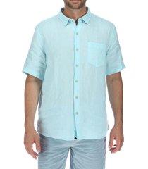 camisa lino hombre linenshort celeste rockford