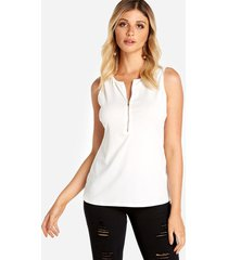 cremallera blanca diseño redonda cuello camiseta sin mangas
