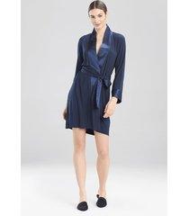 jersey essentials silk sleep/lounge/bath wrap / robe, women's, blue, size l, josie natori