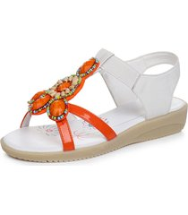 beaded elastic band open toe slip on sandali piatti casual