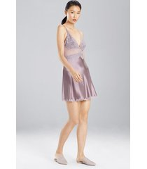 sleek lace chemise pajamas / sleepwear / loungewear, women's, brown, silk, size s, josie natori