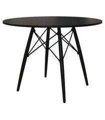 mesa de jantar redonda eiffel wood preta 90 cm