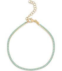 chloe & madison women's 14k gold-plated sterling silver turquoise tennis bracelet