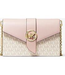 mk borsa a tracolla media convertibile in pelle con logo - vanilla/soft pink - michael kors