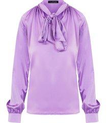 zijde blouse met strik lila