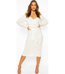 bridesmaid sequin off the shoulder midi dress, white
