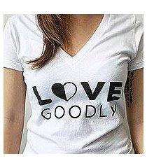 love goodly logo v-neck tee in white (usa)