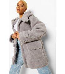 oversized faux fur teddy parka met capuchon, grey